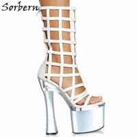 Sorbern/женские сандалии гладиаторы на высоком каблуке из лакированной кожи, Размеры 35 46, праздничная обувь в китайском стиле, летние туфли на к