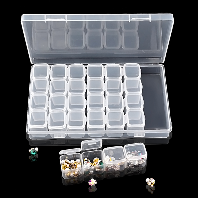 28 Slots Transparent Plastic Nail Art Storage Box Display Case Organizer Holder For Rhinestone Beads Cosmetic Jewelry Decoration