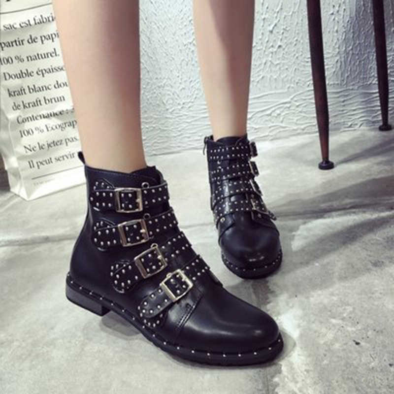 HENGSONG Fashion Studded Ankle Boots