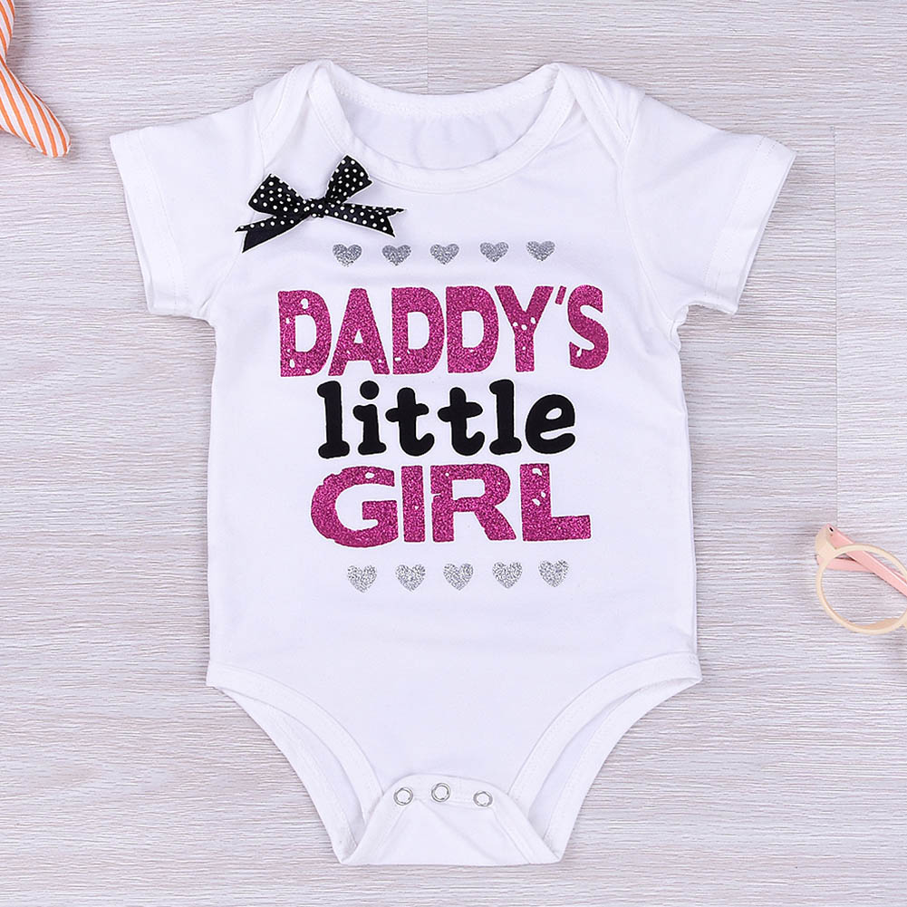 f37e00ee2 2018 Daddy Little Girl Letter Cotton Newborn Infant Baby Girl Body Suit Romper  Jumpsuit Clothes Outfits Mommy Princess T Shirts-in T-Shirts from Mother ...