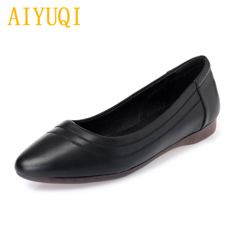 AIYUQI Genuine leather women 39 s shoes 2019 spring new casual women 39 s flat shoes large size 41 42 43 soft bottom mother shoes in Women 39 s Flats from Shoes