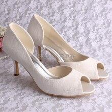 Пользовательские Ручной Дамы Свадебные Туфли Белый Кот Кружева Свадебная Обувь Открытым Носком