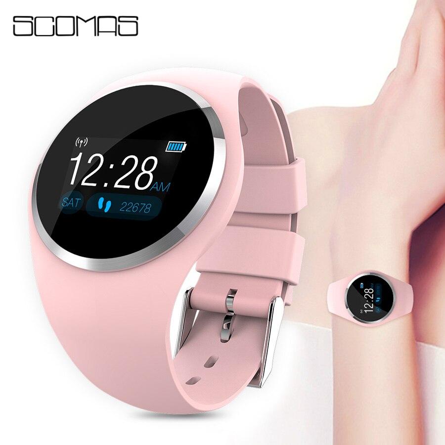 SCOMAS Bluetooth inteligente señora moda reloj Monitor de ritmo cardíaco Fitness Tracker Smartwatch apoyo APP para Android IOS