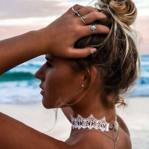 BOHO FESTIVAL blanc noir dentelle collier ras du cou couples femmes collier colliers bijoux femmes déclaration bijoux