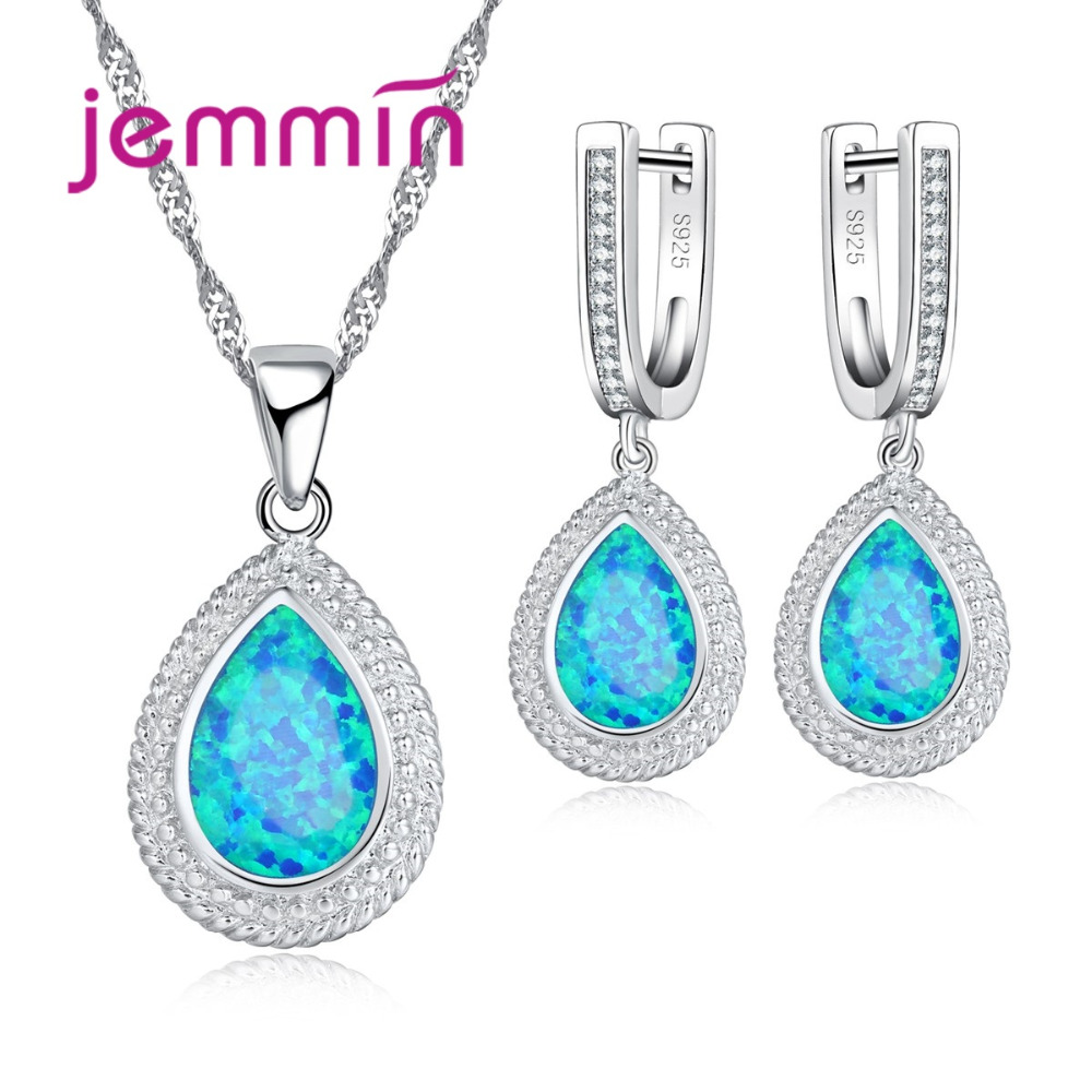 Jemmin Big Luxury Fire Blue Opal Water Drop Necklace Earrings Set High-Grade Women 925 Sterling Silver Crystal Jewelry Sets цены