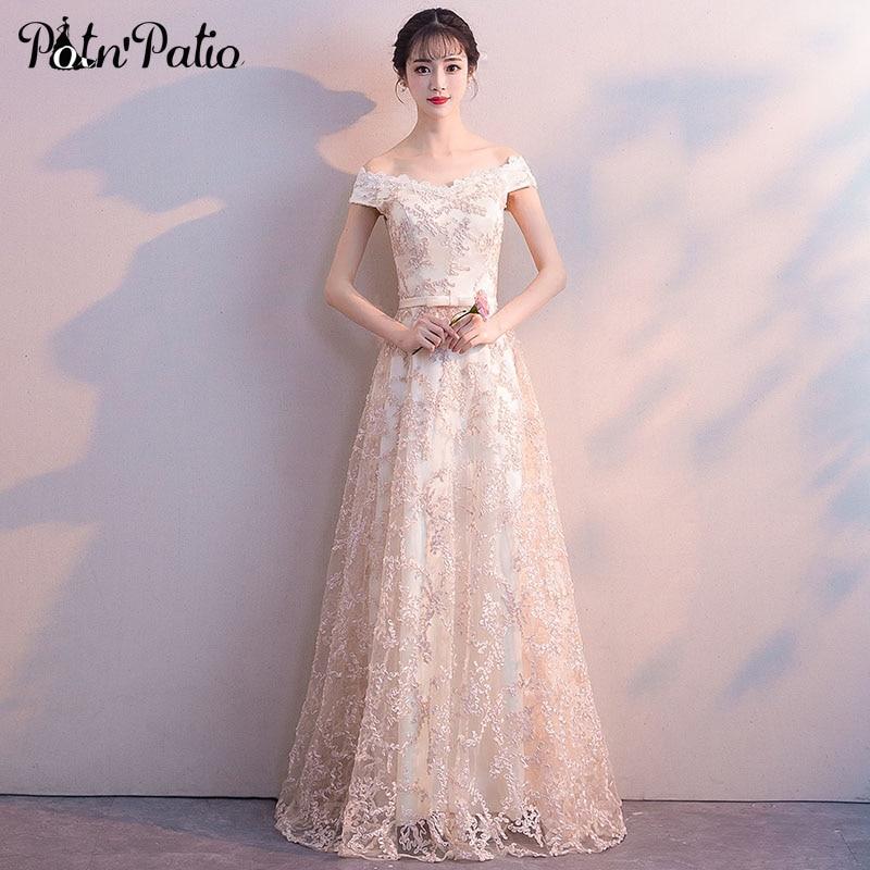 Elegant Lace   Evening   Gowns For Women Boat Neck Off The Shoulder Plus Size Formal   Dresses   Champagne Long   Evening     Dresses   2018