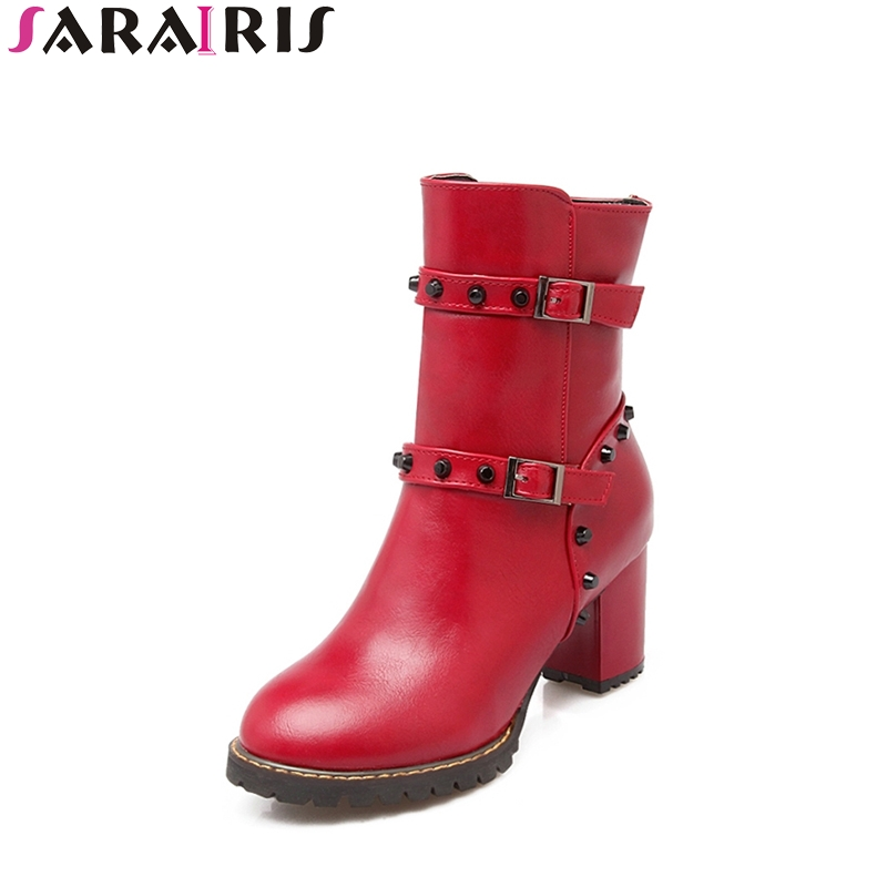 SARAIRIS Plus Size 30-45 Platform Ankle Boots Woman Rivet Strap Buckle High Square Heel Round Toe Women Shoes woman platform square high heel buckle ankle boots fashion round toe side zipper dress winter boots black brown gray white