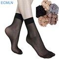 Summer ultrafina atractiva transparente calcetines de seda cristalinos para las mujeres de alta elástico de nylon negro calcetines calcetines cortos femeninos 20 par/lote # m