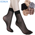 summer sexy ultrathin transparent crystal silk socks for women high elastic black nylon short socks female socks 20pairs/lot#M