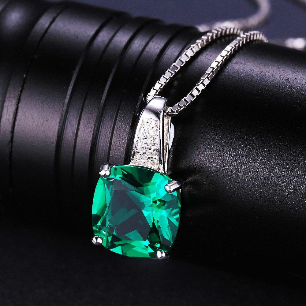 Bijoux palais 8.7ct bague émeraude pendentif Clip boucles d'oreilles ensemble de bijoux 925 en argent Sterling bijoux fins 45 cm boîte chaîne - 3