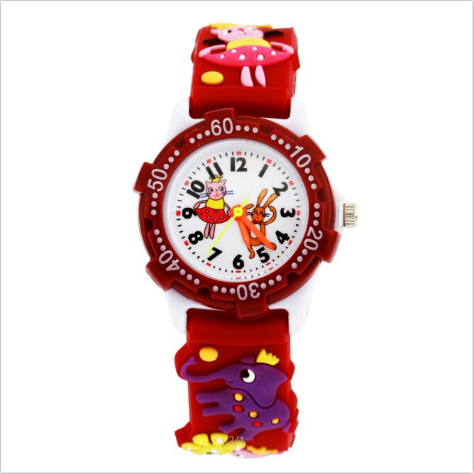 Children watch red happy dance waterproof kid watches brand quartz wrist watch baby for girls for Watches brands for girl