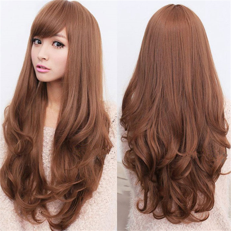 Luxury Women Brown Full Head Wig Long Curly Wavy Fake Hair With Fringe Cosplay Party Queen Deep Wave For Women Free Shipping