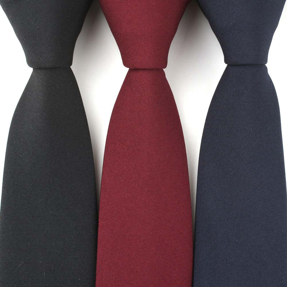 Men's Tie Pure Color 7cm Polyester Silk Dyeing Wine Red  Sapphire  Blue And Melanin Tie Narrow Version Spot Wholesale