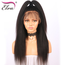 Elva Hair Pre Plucked Lace Front Human Hair Wigs Bleached Knots Kinky Straight Brazilian Remy Hair Wigs For Black Women 10″-24″