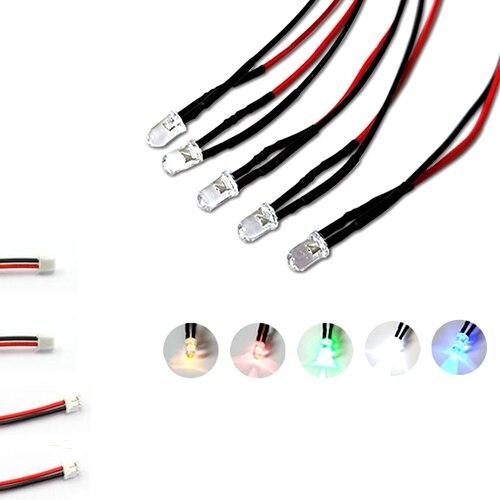 10 pièces 3 V 5 V 6 V 9 V 12 V 24 V 36 V 48 V 110 V 220 V Clair 5mm LED Avec Fil De 20 cm Et ZH1.5 L'en-Tête lumière = blanc rouge bleu vert jaune
