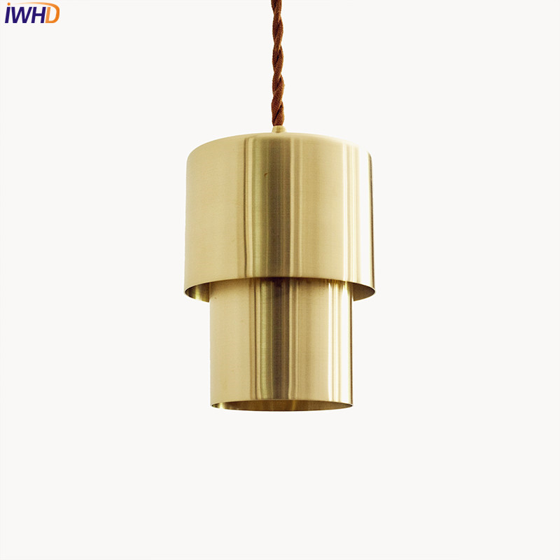 IWHD Nordic Simple Brass Pendant Lights Fixtures Dinning Room Copper Pendant Light Hanglampen Hanging Lamp Lighting Luminaire