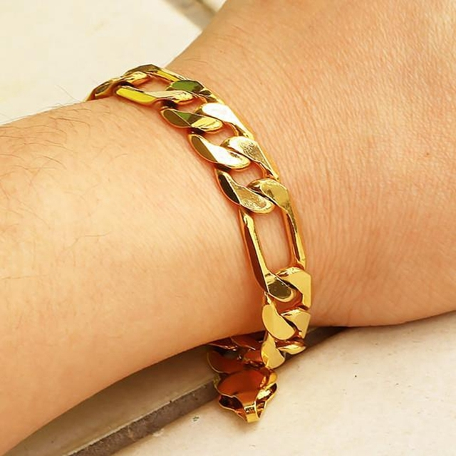 Men s Yellow Gold Filled Bracelet Figaro Wrist Chain link 9