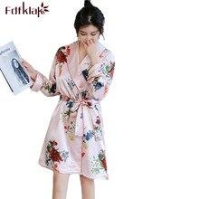 Fdfklak Casual traje de boda vestidos de satén de seda vestidos para las mujeres de manga larga Vintage albornoz con impresión mujer traje Mujer