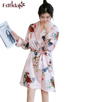 Fdfklak Casual Wedding Robe Silk Satin Robes Dressing Gowns for Women Long Sleeve Vintage Print Bathrobe Female Robe Femme