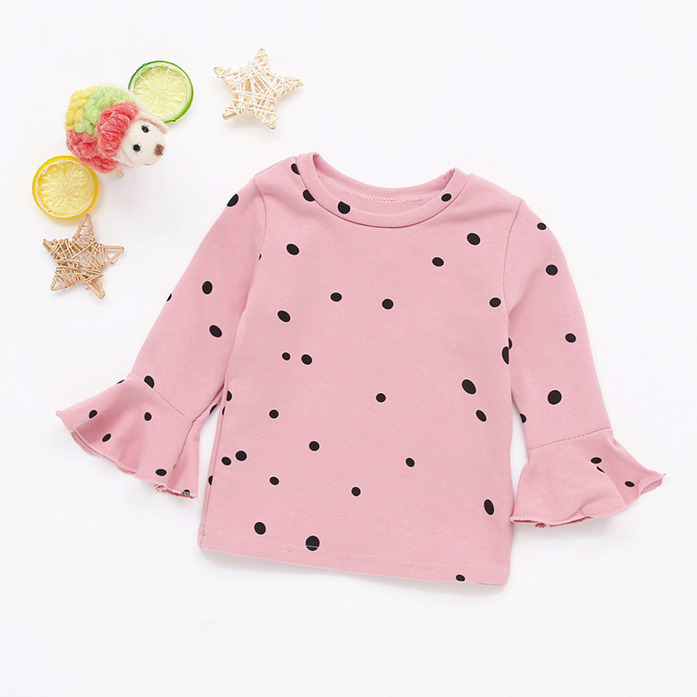 Princess Newborn Baby Girl Fashionable   Shirts   Soft Long Sleeve Dot Soft Toddler Kids Tops   Shirt   Clothes Drop Shipping