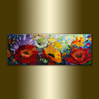 handmade canvas paintings painted pictures of flowers poppy oil painting modern knife flowers abstract painting for home decor