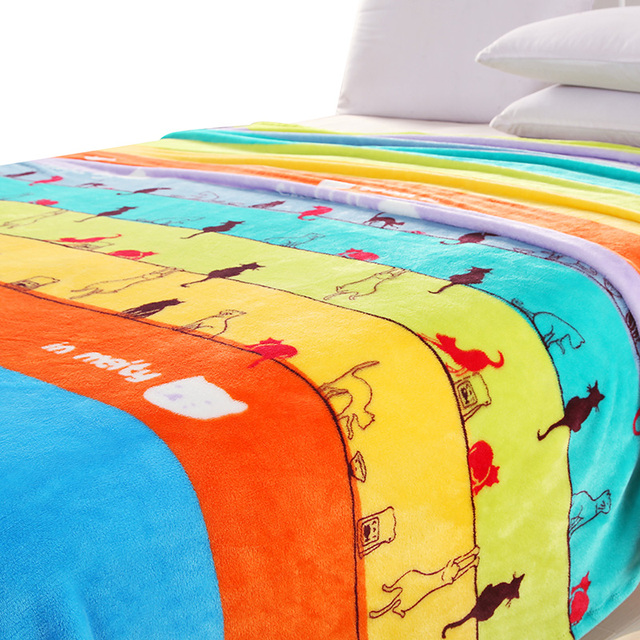 Svetanya cute cat print Blanket fleece soft Multifunction blankets thin Plaids can use as bedsheet/sofa Throws