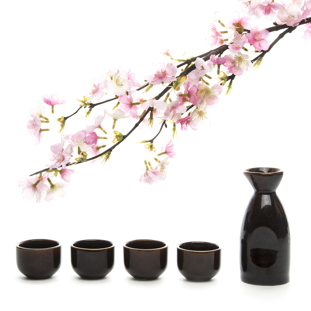 Čínská keramika Pot Sake Pot +4 Sake Cups Handmade Wine Set - Kuchyně, jídelna a bar