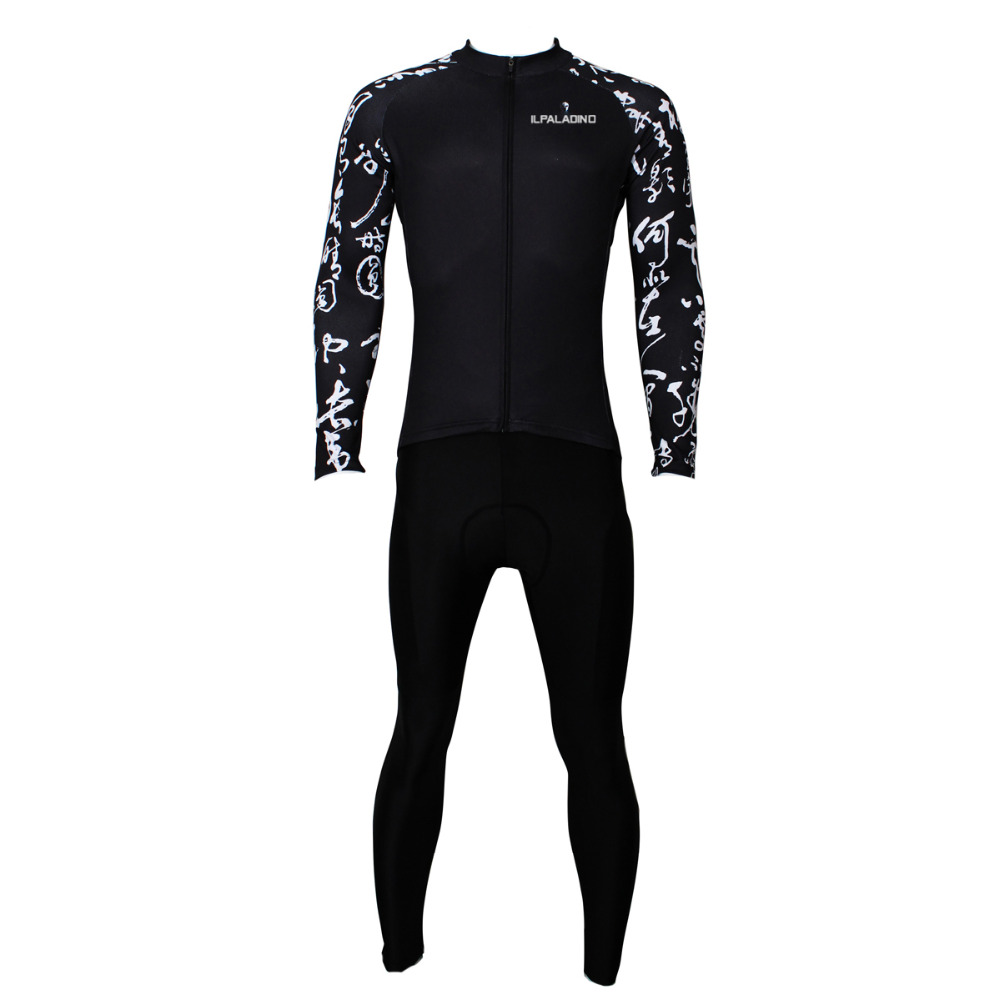 ФОТО Cycling Jersey Men Chinese Style Black Cycling Clothing Men High Quality Long Sleeve Cycling Clothes Jersey Set X400