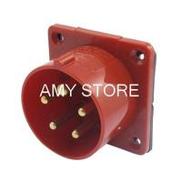 IP44 16A 3P+E+N IEC309-2 Industrial Panel Mount Plug Connector Red w Washer