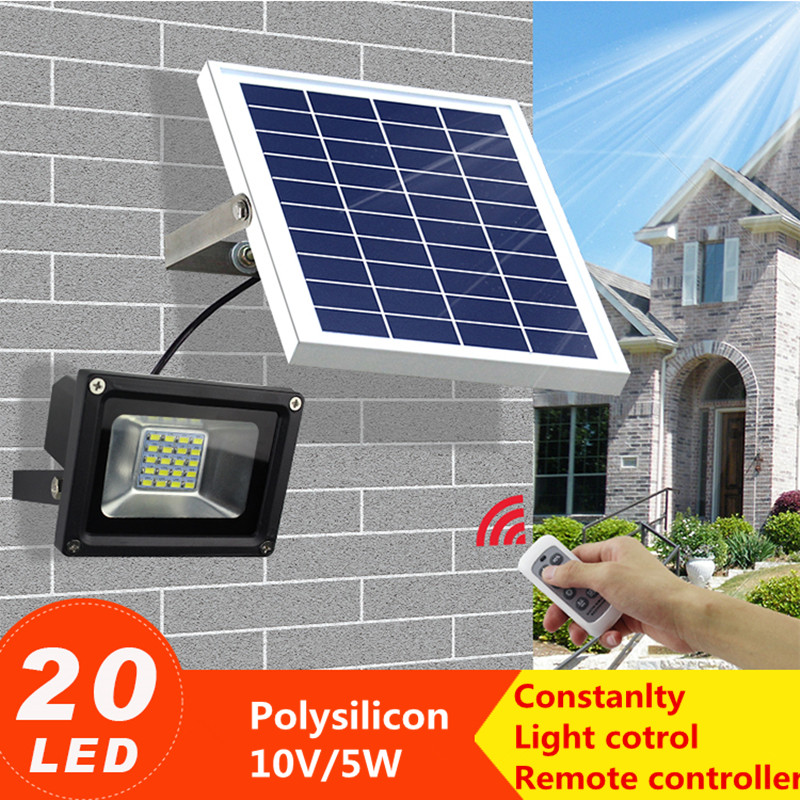Solar Powered Lamp Remote control Solar Light 20 LED Waterproof IP65 Outdoor Fence Garden Pathway Wall Light