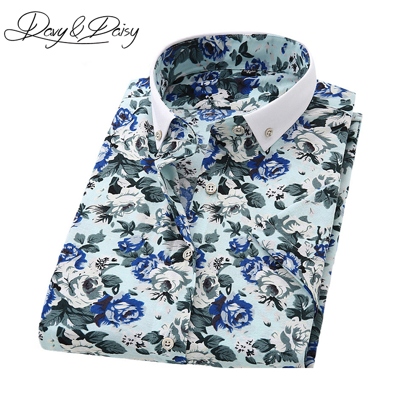 Davydaisy short sleeve shirt men summer fashion floral for Mens slim hawaiian shirt
