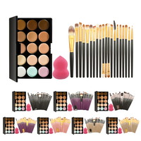 Pro 15 Colors Cream Makeup Concealer Palette Kits With 20Pcs Foundation Blush Powder Brushes Soft Cosmetic