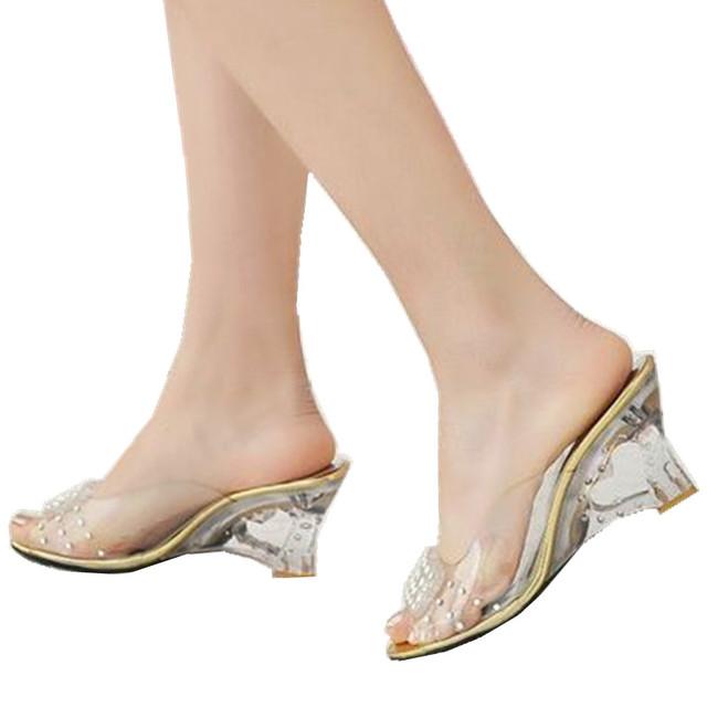 Big Size 34-43 Sapatos de Verão Chinelos Moda Recorte Saltos de Cunha Do Dedo Do Pé Aberto Plataforma Sandálias Transparentes para As Mulheres Sexy 2015