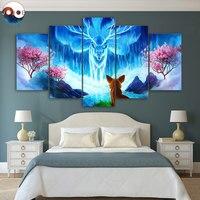 Saggezza da JoJoesArt HD stampa 5 pezzo della tela di canapa di Volpe e Nove code di volpe Artsailing Wall Art Picture Home Decoration CU-3229C