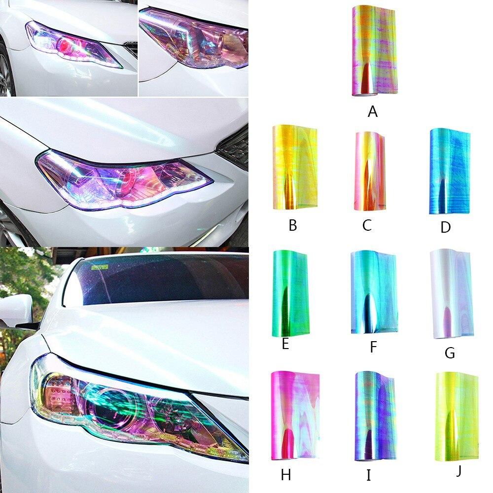 Blue Car Glossy Chameleon Mirror Headlight Taillight Vinyl Wrap Tape Sticker AB