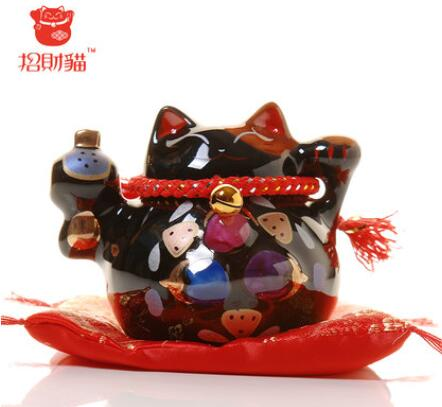 Lucky cat ornaments black ceramic deposit tank piggy bank shop opening home creative gifts
