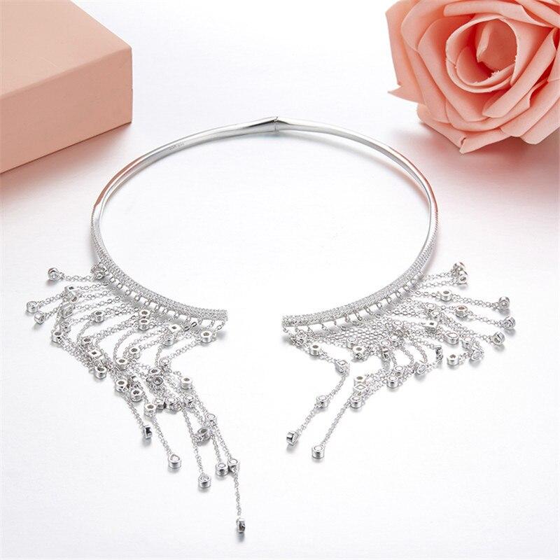 ZOZIRI monaco collier en cristal collier en argent sterling plein de zircon gland longue déclaration pour les femmes filles fête dîner bijoux