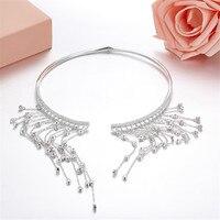 ZOZIRI monaco crystal necklace collar sterling silver full of zircon tassel long statement for women girls party dinner jewelry