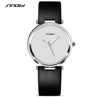 SINOBI Top Brand Luxury Watches Women Black Fashion Leather Wristwatch Ladies Clock Quartz Watch 2018 Relojes