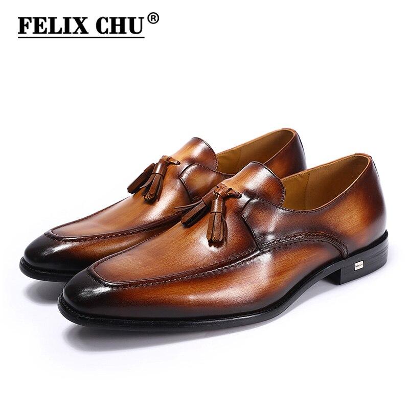FELIX CHU 2018 Mens Street Fashion Tassel Loafers Genuine Leather Brown Formal Shoes Party Wedding Men Dress Casual Footwear