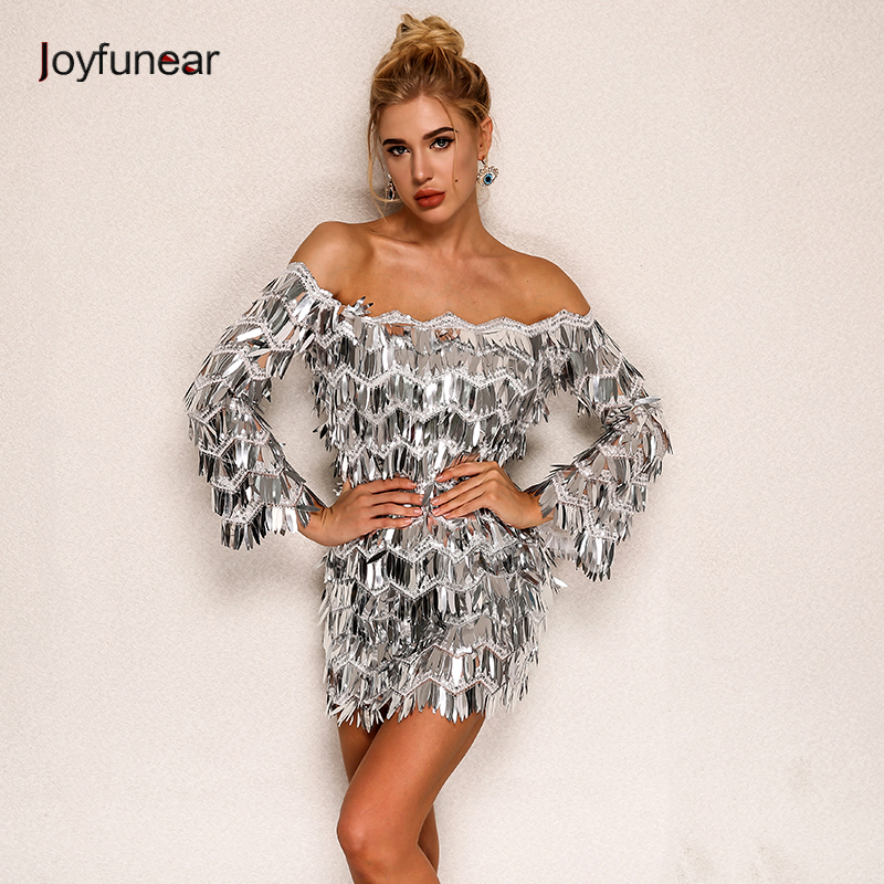 Joyfunear 2019 Amazing Luxury Summer Dress 5 Colors Beautiful Sequin Club Party Queen Sexy Dresses Off The Shoulder Playsuits