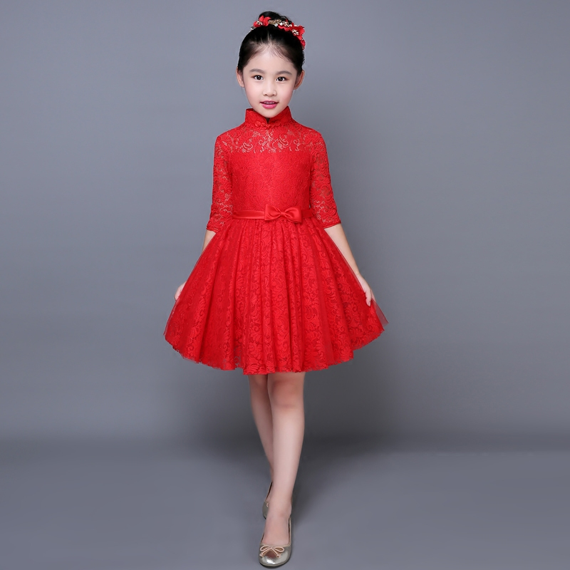 2017 autumn lace girl clothing princess dress party formal cute red prom crochet dresses chinese style qipao dresses for banquet free shipping new red hot chinese style costume baby kid child girl cheongsam dress qipao ball gown princess girl veil dress