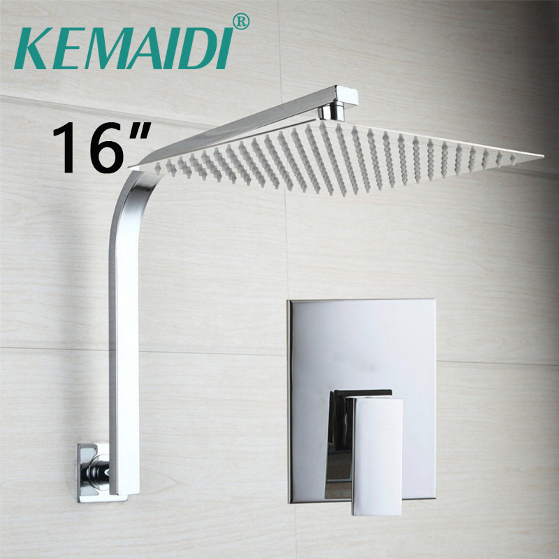 KEMAIDI 16Inch Bathroom Faucets Chrome Shower Valve Square 40cm Rain Head W/ Wall Mounted Hot&Cold Water Taps Fashion Style