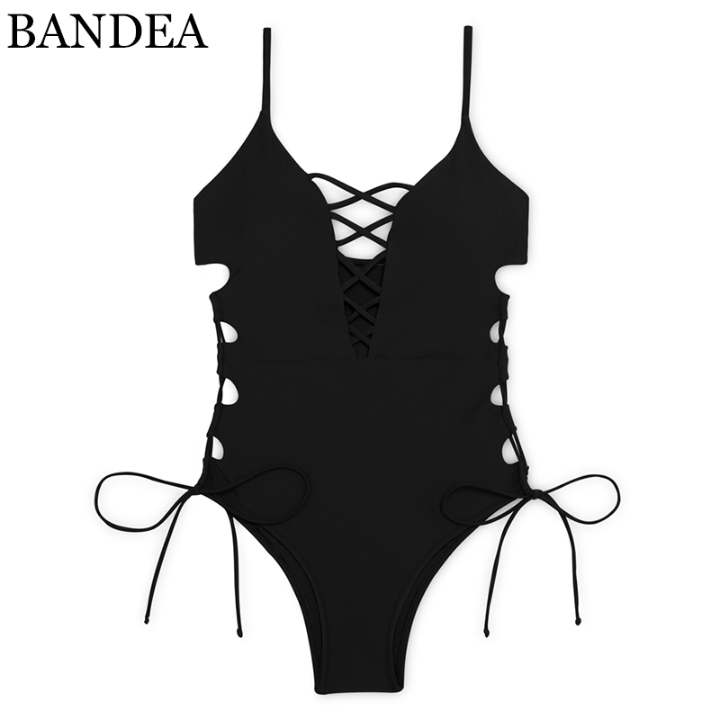 BANDEA sexy cut out monokini women solid swimsuit lace up swimwear print one piece bathing suit bandage push up bodysuit summer brief candy color lace up one piece swimwear for women