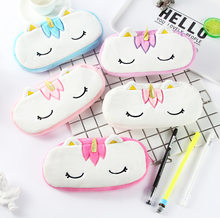 Cute Cartoon Plush Unicorn Doll Toy Of Coin Pencil Multi-function Zipper Bag Doll Creative Stuffed Unicorn Pencil Case For Kids(China)