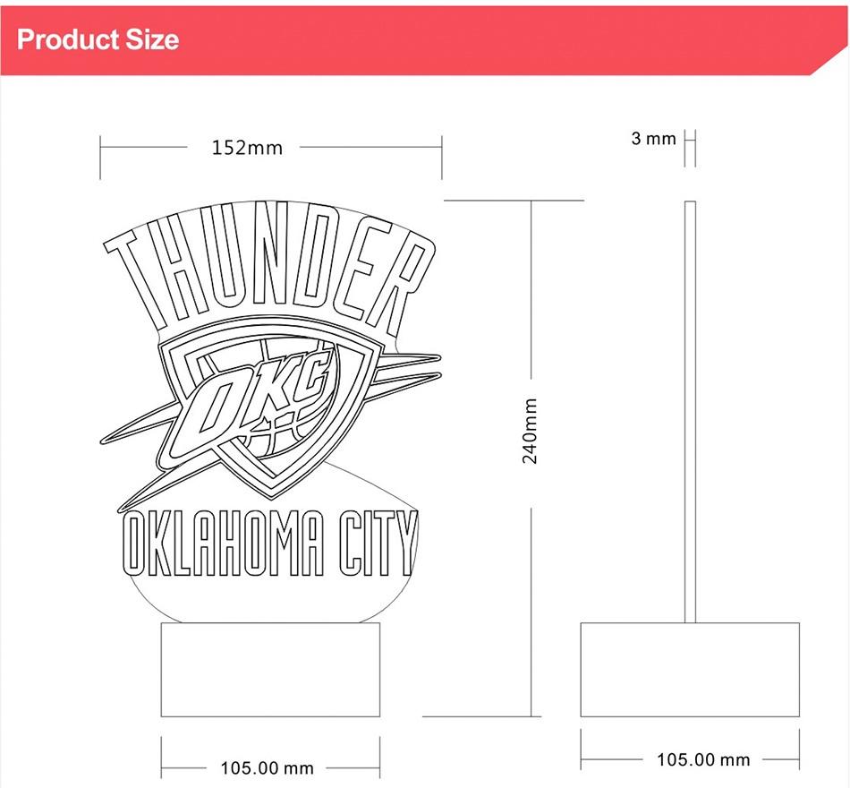 Creative Holiday Gifts for Thunder NBA Desk light Oklahoma City 3D Night Light as Bedroom Lampara (8)