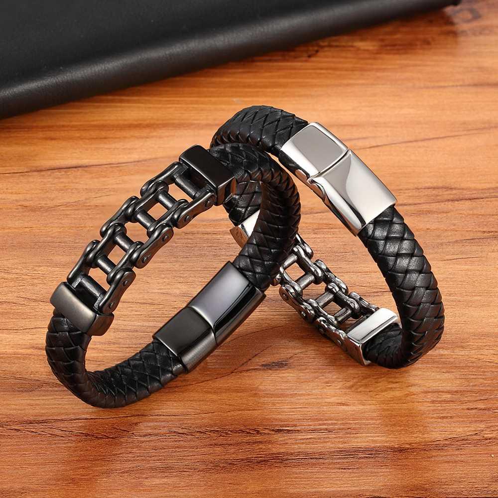 Unique Punk Design motif spécial chaîne de vélo en acier inoxydable accessoires hommes Bracelet en cuir multicolore cadeau d'anniversaire