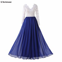 L Ivresse 2017 Hot Charming Long A Line Royal Blue Chiffon White Lace Top Evening Dresses