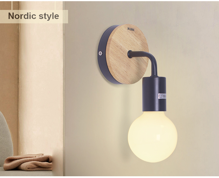 b4acd9b7d5d SOUL Wall Lamps Modern Northern Europe Vintage Wood Metal Wall Lamp  Industrial Indoor Lighting ...