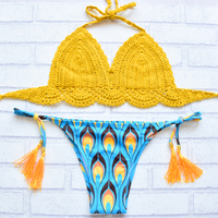 2018 New Sexy Handmade Crochet Knitted Swimwear Women Brazilian Biquini Bikini Set Printed Bottom Swimsuit Beachwear